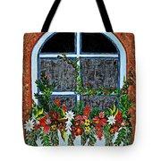 Window Flower Box On A Stucco Wall Tote Bag