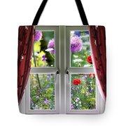 Window View Onto Wild Summer Garden Tote Bag