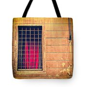 Window With Grate And Red Curtain Tote Bag by Silvia Ganora