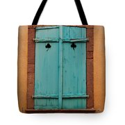 Window With Turqouise Shutters In Colmar France Tote Bag