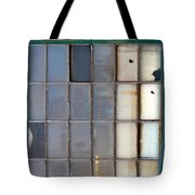 Windows In Blue Building Vertical Tote Bag