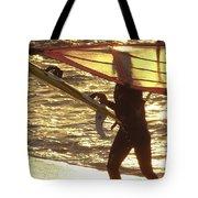 Windsurfer At Sunset Tote Bag
