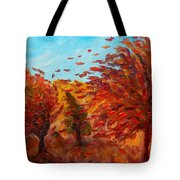 Windy Autumn Day Tote Bag