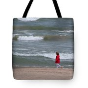 Windy Beach Walk Tote Bag