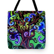 Windy Blue Green Tree Tote Bag