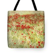 Windy Poppies At The Fields Tote Bag