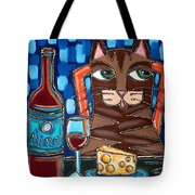 Wine And Cheese Cat Tote Bag