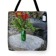 Wine And Red Flowers On The Rocks Tote Bag