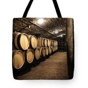 Wine Barrels In A Cellar. Cote D'or. Burgundy. France. Europe Tote Bag