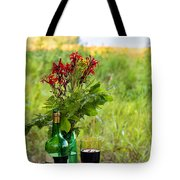 Wine Bottle And Two Glasses Tote Bag