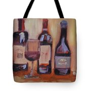 Wine Bottle Trio Tote Bag