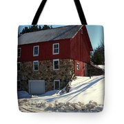 Winery Barn In Winter Tote Bag by Desiree Paquette