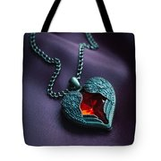 Winged Heart With Red Gem Tote Bag
