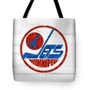 Winnipeg Jets Retro Hockey Team Logo Recycled Manitoba Canada License Plate Art Tote Bag