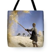 Winnowing Wheat In Iran Tote Bag