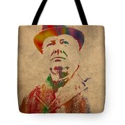 Winston Churchill Watercolor Portrait On Worn Parchment Tote Bag by Design Turnpike