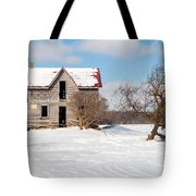 Winter Abandoned Farmouse Tote Bag