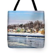 Winter At Boathouse Row In Philadelphia Tote Bag by Simon Wolter
