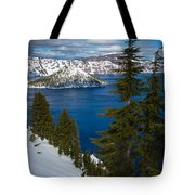 Winter At Crater Lake Tote Bag