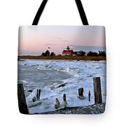 Winter At East Point Lighthouse  Tote Bag