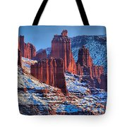 Winter At Fisher Towers Tote Bag