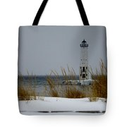 Winter At Frankfort Lighthouse Tote Bag