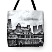 Winter At The Fairmount Waterworks In Black And White Tote Bag