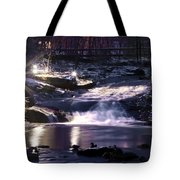 Winter At The Woodlands Waterfall In Wilkes Barre Tote Bag
