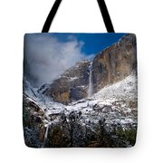 Winter At Yosemite Falls Tote Bag by Bill Gallagher