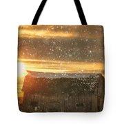 Winter Barn At Sunset Tote Bag