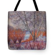Winter Birches And Red Willows 1 Tote Bag