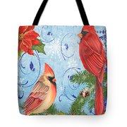 Winter Blue Cardinals-joy Card Tote Bag