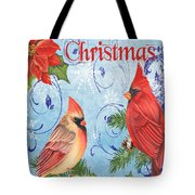 Winter Blue Cardinals-merry Christmas Card Tote Bag