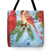Winter Blue Cardinals-peace Card Tote Bag