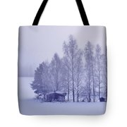 Winter Cabin In The Woods Tote Bag
