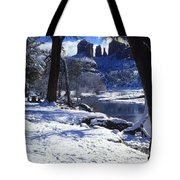 Winter Cathedral Rock Tote Bag