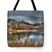 Winter Cattails By The Lake Tote Bag
