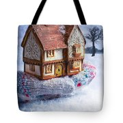 Winter Cottage In Gloved Hand Tote Bag