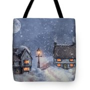 Winter Cottages In Snow Tote Bag