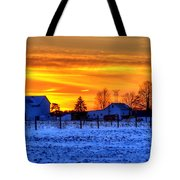 Winter Country Sunset Tote Bag