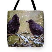 Winter Crows Tote Bag