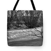 winter day BW-Black and white presentation of Snow on a frozen creek south  Tote Bag