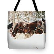 Horses Eating In Snow Tote Bag
