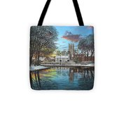 Winter Evening Tickhill Yorkshire Tote Bag