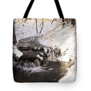 Winter Falls On Big Stone Lake  Tote Bag