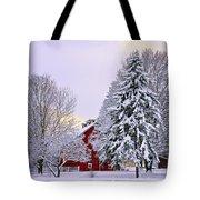 Winter Farm Scene Tote Bag