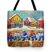Winter Fun At Hockey Rink Magical Montreal Memories Rink Hockey Our National Pastime Falling Snow   Tote Bag