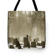 Winter Graveyard Crows Tote Bag