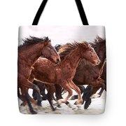 Winter Hardened Wild Horses Tote Bag