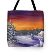 Winter Hare Visit Tote Bag
